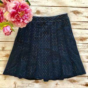 ANN TAYLOR skirt eyelet navy blue a-line size 4P